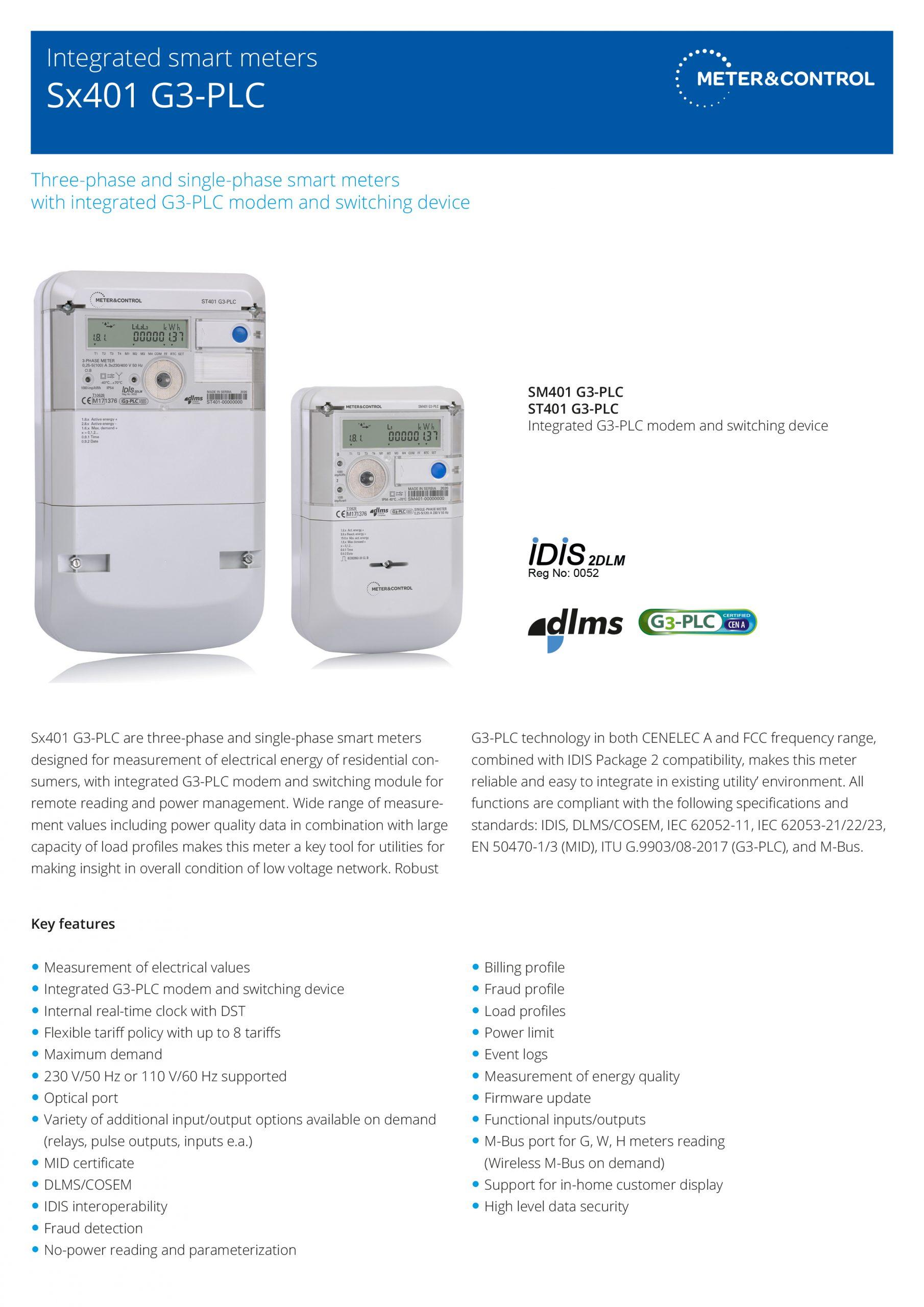 Sx401 G3-PLC smart meters